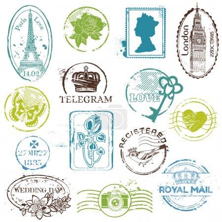 Illustration pour Collection de timbres en caoutchouc vintage - pour votre design, scrapbook - en vectoriel - image libre de droit