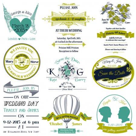 Foto de Colección vintage invitación - para el diseño, Bloc de notas - en el vector de la boda - Imagen libre de derechos