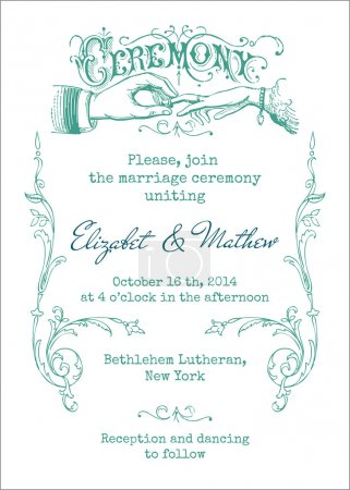 Illustration for Wedding Vintage Invitation Card - in vector - Royalty Free Image