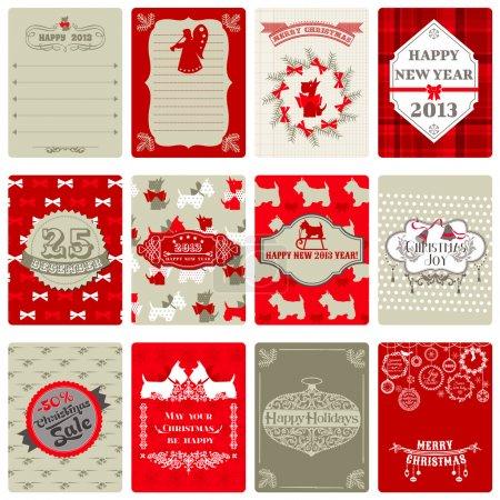 Illustration pour Placer des balises de Noël vintage - pour la conception ou scrapbook - vecteur - image libre de droit