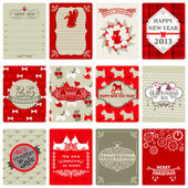 Set of Vintage Christmas Tags - for design or scrapbook - in vec
