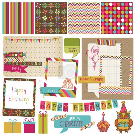 Photo for Retro Birthday Celebration Design Elements - for Scrapbook, Invitation in vector - Royalty Free Image