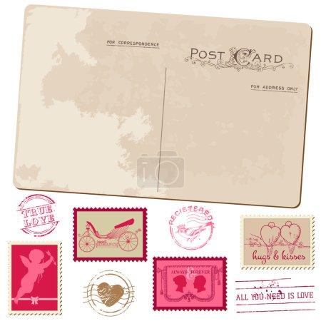 Vintage Postcard and Postage Stamps - for wedding design, invita