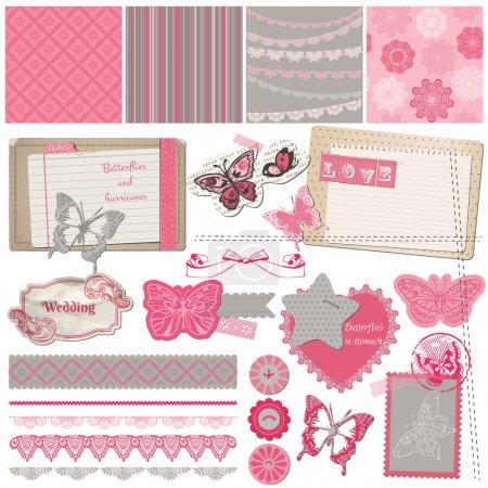 Scrapbook Design Elements - Vintage Lace Butterflies - in vector