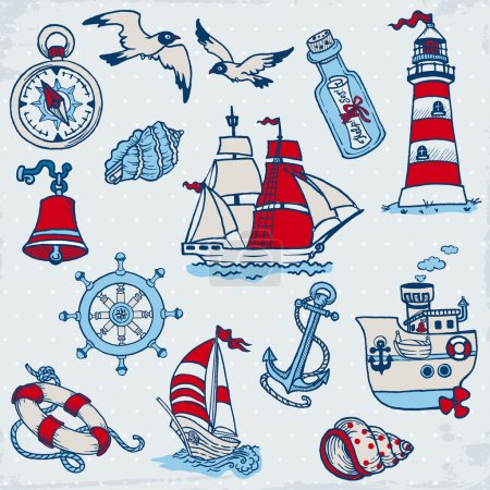 Illustration for Nautical Sea Design Elements - for scrapbook and design in vector - Royalty Free Image