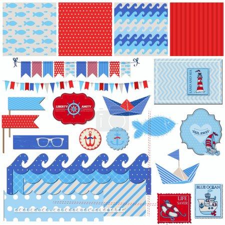 Illustration pour Éléments de conception de Scrapbook - thème mer nautique - scrapbook et conception en vecteur - image libre de droit