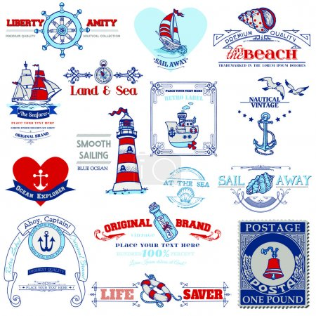 Nautical Sea Calligraphic Elements - for scrapbook and design in