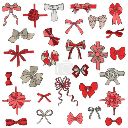 Illustration for Set of gift Bows with Ribbons - for design and scrapbook - in vector - Royalty Free Image