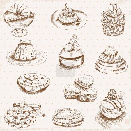 Illustration pour Ensemble de gâteaux, bonbons et desserts - dessinés à la main dans le vecteur - image libre de droit