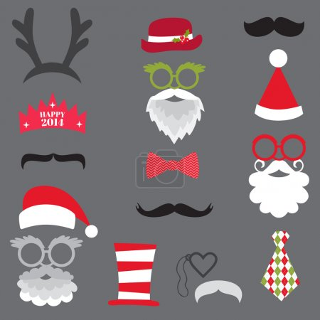 Foto de Navidad fiesta retro juego - gafas, sombreros, labios, bigotes, máscaras - para el diseño, fotomatón en vector - Imagen libre de derechos