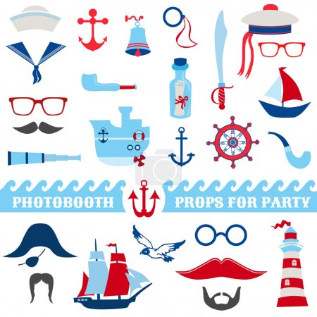 Illustration for Nautical Party set - photobooth props - glasses, hats, ships, mustaches, masks - in vector - Royalty Free Image