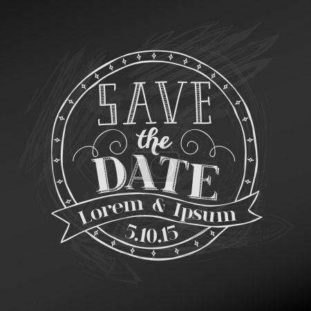 Illustration for Save the Date - Wedding Chalkboard Card - in vector - Royalty Free Image