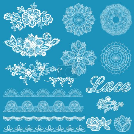 Set of lace, ribbons, flowers - for design and scrapbook