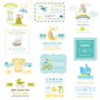 Set of Baby Shower and Arrival Cards - for design ...