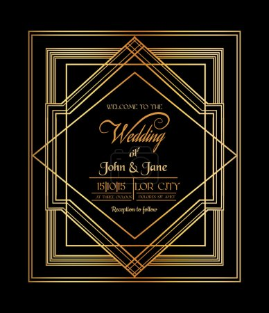 Illustration for Wedding Invitation Card - Art Deco & Gatsby Style - save the date - in vector - Royalty Free Image