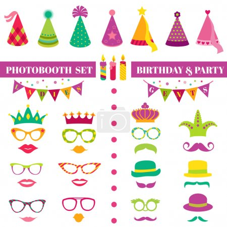 Illustration for Photobooth Birthday and Party Set - glasses, hats, crowns, masks, lips, mustaches - in vector - Royalty Free Image