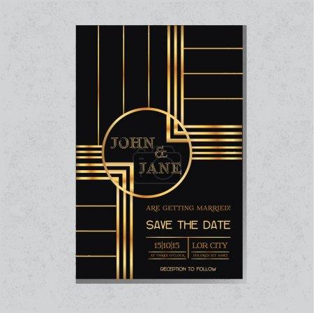 Illustration for Save the Date  - Wedding Invitation Card in Art Deco Design - in vector - Royalty Free Image