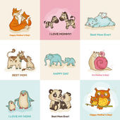 Happy Mothers Day Cards - with cute animals - in vector