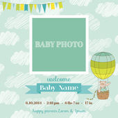 Baby Arrival Card with Photo Frame - Air Balloon and Cute Bear