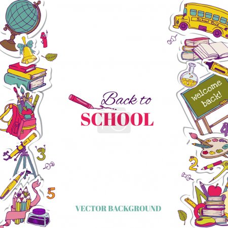Illustration for Back to School Background- for design, postcard, texture -  in vector - Royalty Free Image