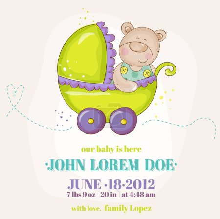 Baby Boy Arrival Card - Baby Bear in Carriage - in vector