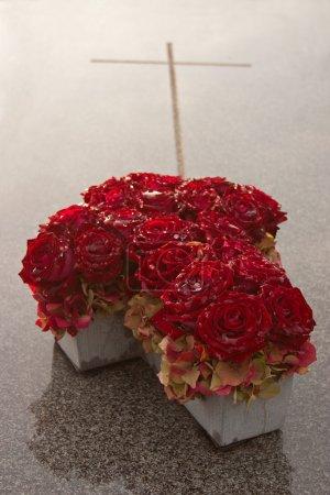 Photo pour Roses sur un cimetière à la Toussaint - image libre de droit