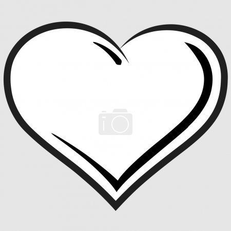 Illustration for Black and white heart vector - Royalty Free Image