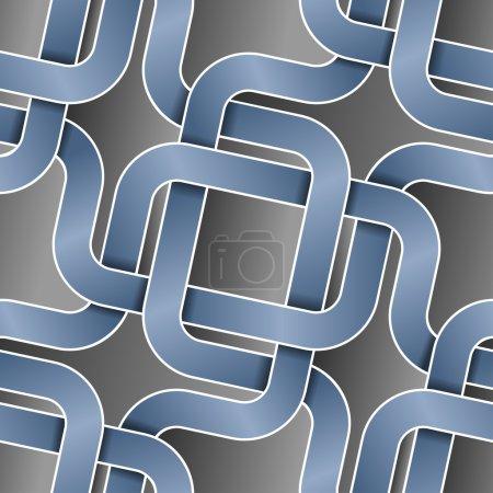 Intertwist blue tapes on dark seamless pattern