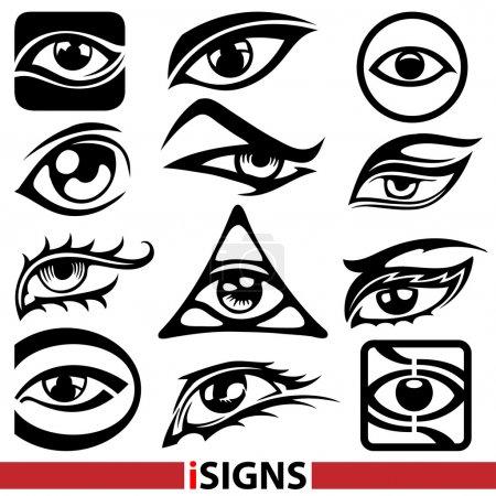 Eye signs. Eye icons vector set