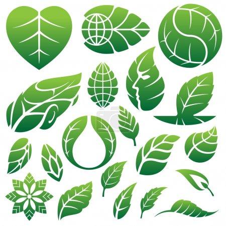 Illustration pour Icônes de feuilles logo et éléments de design - image libre de droit