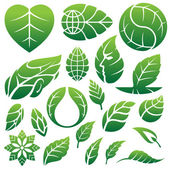 Leaf icons logo and design elements