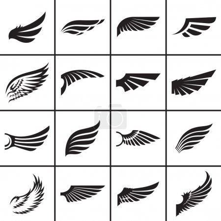 Illustration pour Eléments de design d'ailes dans différents styles illustration vectorielle - image libre de droit