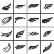 Wings design elements set in different styles vect...