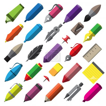 Stationery writing drawing and painting tools icons set