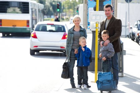 Family waiting for the bus