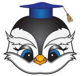 Kreslený pták čtvercové akademickou čepicí