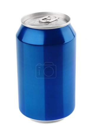 Photo for Blue aluminum can 330 ml isolated on white with clipping path - Royalty Free Image