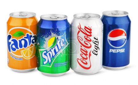 Group of various soda drinks in aluminum cans isolated on white