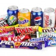 Large collection of junk food isolated on white. I...