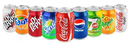Group of various soda drinks