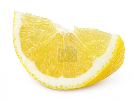Photo for Slice of lemon fruit isolated on white background - Royalty Free Image