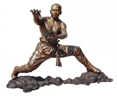 Photo for Shaolin warriors monk in Chinese Temple Viharn Sien, Chonburi, Thailand. Bronze statue isolated on white with clipping path - Royalty Free Image