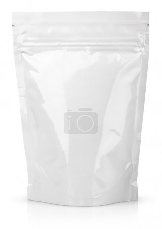 White blank foil or plastic sachet with valve and seal