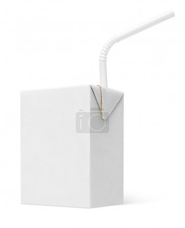 Photo for 200 ml milk or juice carton package with straw isolated on white with clipping path - Royalty Free Image