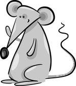 Cute gray mouse cartoon illustration