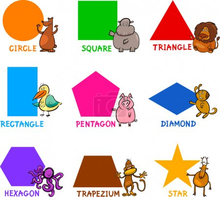Illustration for Cartoon Illustration of Basic Geometric Shapes with Captions and Animals Comic Characters for Children Education - Royalty Free Image
