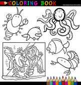 Coloring Book or Page Cartoon Illustration of Funny Marine Animals and Sea Life for Children