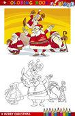 Cartoon Santa Claus Group for Coloring