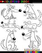 Kreslený psy pro obarvení kniha nebo stránky