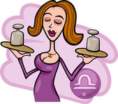 Illustration of Beautiful Woman Cartoon Character with weights and Libra Horoscope Zodiac Sign